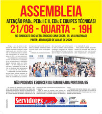 Boletim Servidores na Luta Especial EDUCAÇÃO (agosto de 2019)