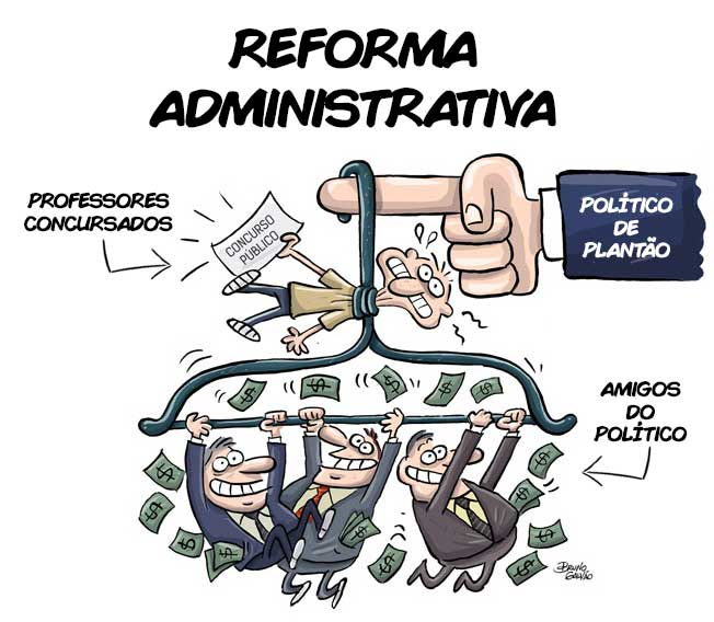 Charge sobre a Reforma Administrativa