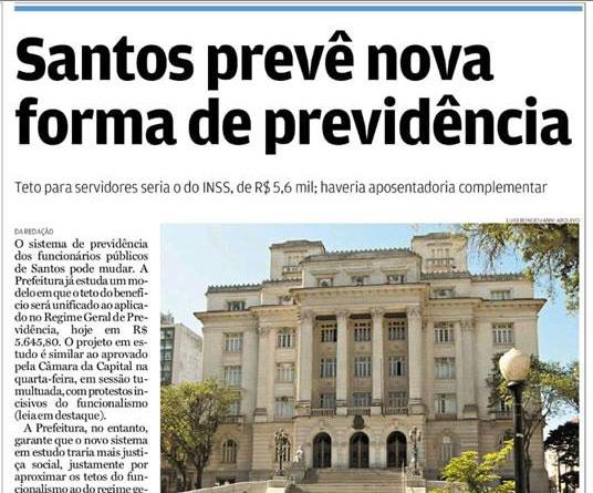 """Jornal A Tribuna: """"Santos prevê nova forma de previdência"""""""