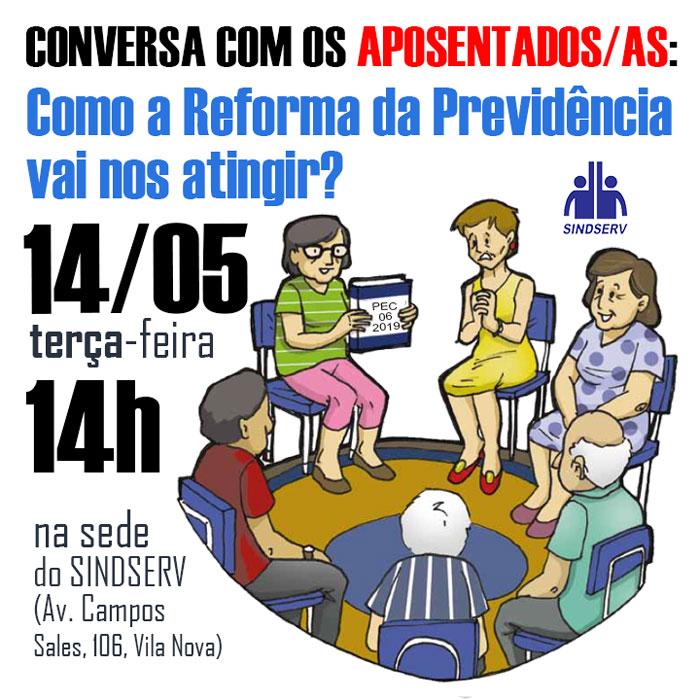 Cartaz da Roda de conversa sobre como a Reforma da Previdência