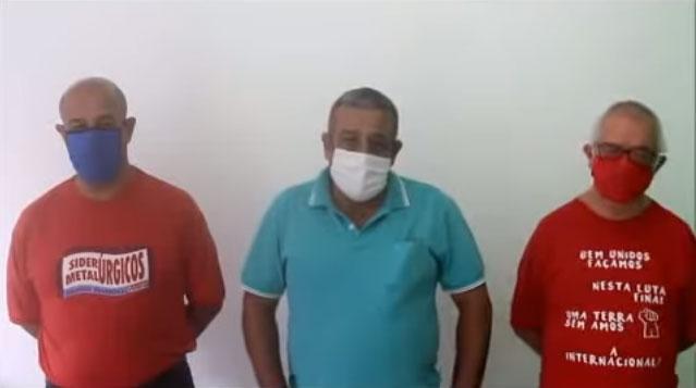 Imagem do vídeo: três diretores do sindicato dos metalúrgicos