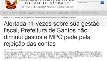 Imagem do site do MPC com a notícia