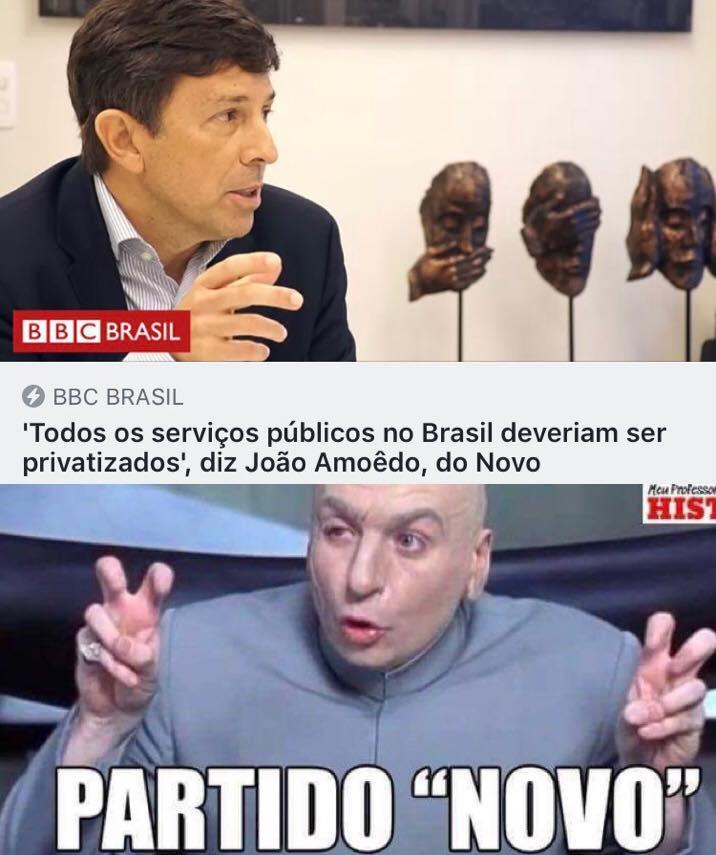 Manchete de uma reportagem da BBC Brasil com o título: 'Todos osserviços públicos no Brasil deveriam ser privatizados', diz João Amoêdo, do Novo.