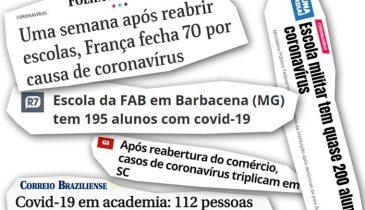 Várias manchetes mostrando o desastre que foi reabrir escolas, academias e comércio em outros países e em outros estados do Brasil