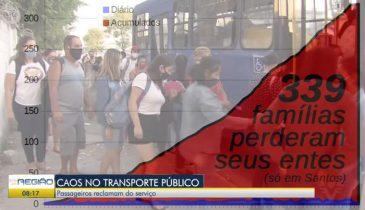 """Gráfico de óbitos de Santos: """"339 famílias perderam seus entes (só em Santos)"""". Com imagem de fila pra entrar em ônibus e título da reportagem: """"Caos no transporte público"""""""