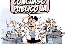 """Charge: Cozinheira fazendo mil funções ao mesmo tempo e gritando """"CONCURSO PÚBLICO JÁ!"""""""
