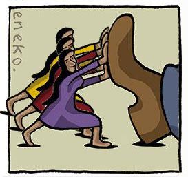 Charge adaptada do Eneko onde mulheres seguram uma sola de sapato que as tenta esmagar