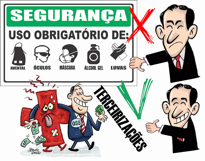 Charge: Paulo Alexandre fazendo sinal de negativo para EPIs em cima e em baixo o Paulo Alexandre fazendo sinal de positivo para terceirizações