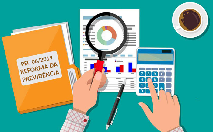 Ilustração de um servidor analisando a Reforma da Previdência e fazendo cálculos
