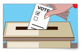 Ilustração de uma mão colocando uma cédula de votação na urna.