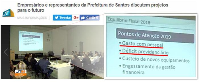"""Manchete do JORNAL TRIBUNA: """"Empresários e representantes da Prefeitura de Santos discutem projetos para o futuro"""". Detalhe na apresentação: """"Pontos de Atenção 2019: - Despesa com Pessoal; - Déficit previdenciário;"""""""