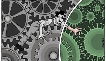 Charge do Eneko onde mostra a cena clássica do Chaplin no meio das engrenagens, mas parte das engrenagens são os representadas pelo Coronavírus